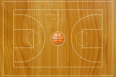 Basketball field texture with real wood. photo