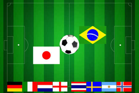 Soccer field with ten flags final. Stock Photo - 9170597