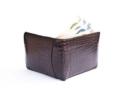 Crocodile wallet with money isolate on the white. photo