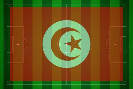 Soccer field with Tunisia flag. photo