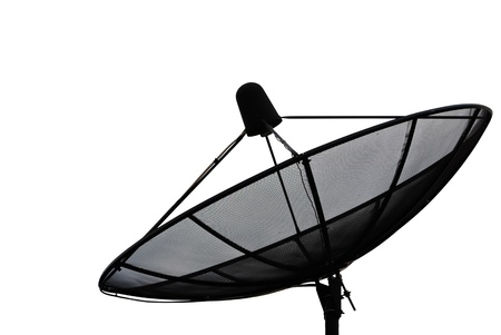 snoop: Satellite dish isolate on the white. Stock Photo