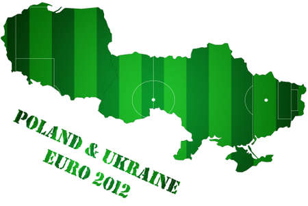 Soccer field with Poland and Ukraine map euro 2012. Stock Photo - 9214609