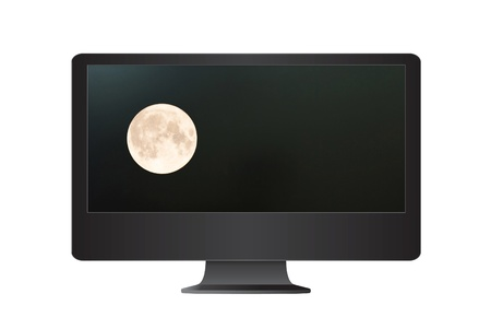 Super moon in the computer monitor. photo