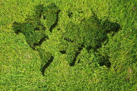 World map background with grass field. Stock Photo - 9330654