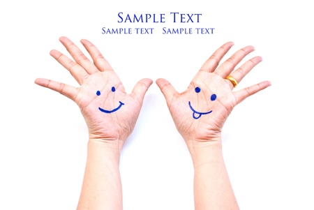 Smile on the hand for happy concept. Stock Photo - 9471414
