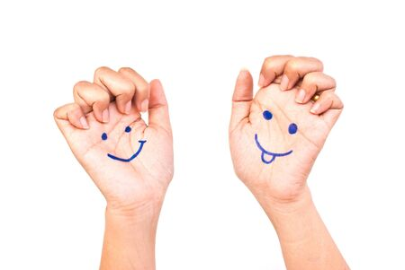 Smile on the hand for happy concept. Stock Photo - 9471415