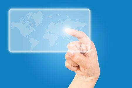 Single finger pressing world wide. Stock Photo - 9595683
