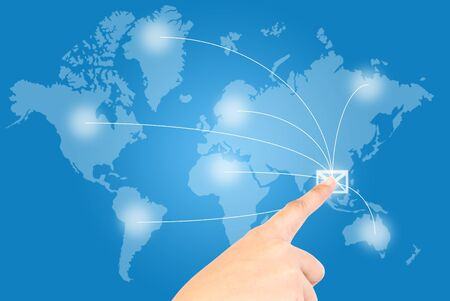 Single finger pressing mail in world wide communication. Stock Photo - 9595687