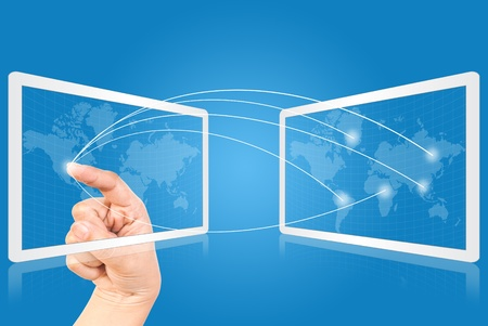Hand pressing mail on touchpad world wide communication. Stock Photo - 9805556