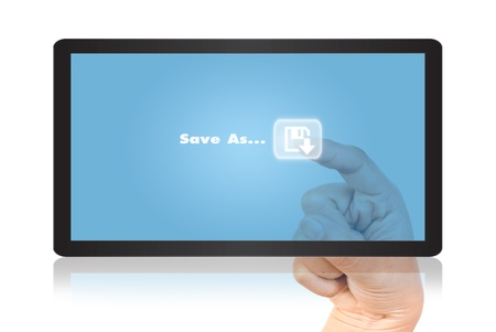 save as: Hand pressing save as word on tablet isolate on the white. Stock Photo