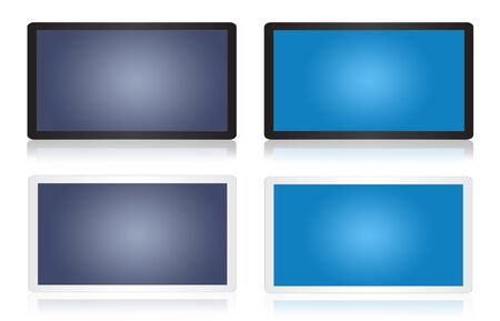 Black and blue tablet isolate on the white. photo