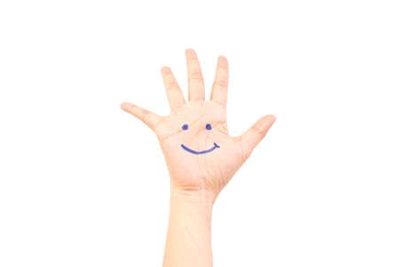Smile on hand isolate on the white. Stock Photo - 9805581