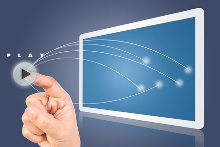 Hand pressing digital button on the white tablet. Stock Photo - 9954815