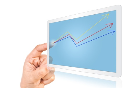 Hand pressing up graph on tablet isolate n the white. Stock Photo - 9954810