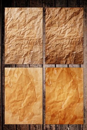Vintage paper on the classic wooden texture background. Stock Photo - 9954935