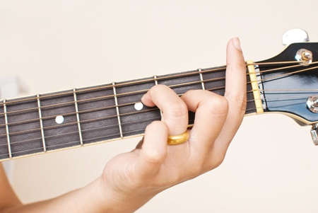chord: Hand pressing classic acoustic guitar chord.