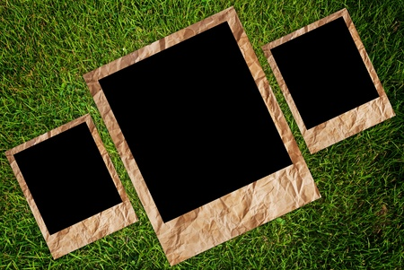 Vintage photo frame on the grass texture background. photo