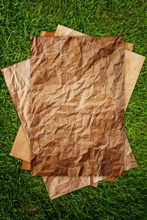 Vintage papers on the grass texture background. Stock Photo - 10081770