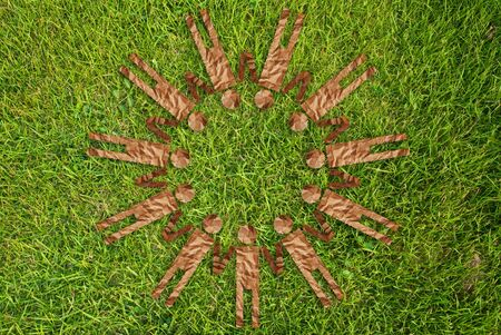 Grass people symbol circle on the grass field. Stock Photo - 10081779