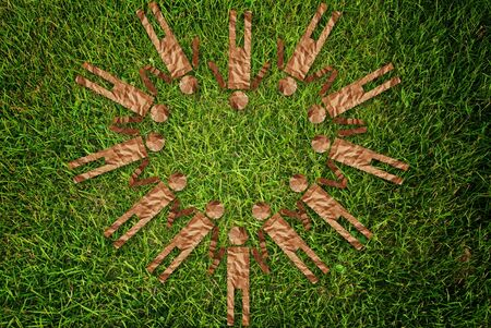Vintage people symbol on the grass field. Stock Photo - 10081777