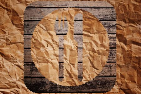 Vintage restaurant symbol on the wood texture background. photo