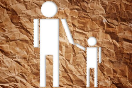 Vintage man and child symbol isolate on the white. Stock Photo - 10103943