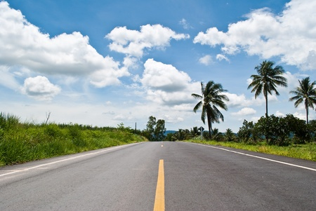 Long road with the blue sky.