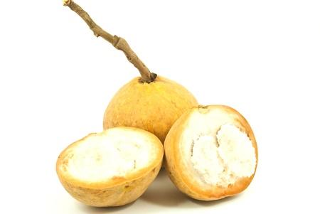 hemispherical: Yellow Thai fruit isolate on the white.