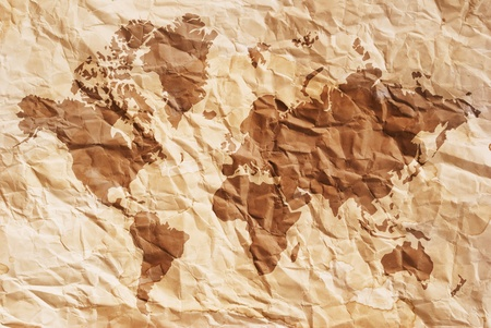 Vintage world map with vintage paper texture. photo