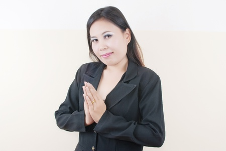 Business lady greeting. Stock Photo - 10200054