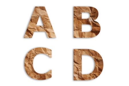 Vintage paper alphabet isolate on the white. Stock Photo - 10278578