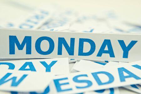 fashion week: Monday word texture background. Stock Photo
