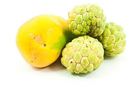 scaly custard apple: Yellow Thai fruit isolate on the white.