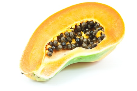 Papaya fruit isolated on the white. photo