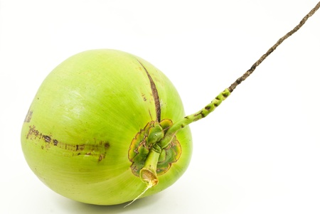 with coconut: Green coconut isolated on the white background. Stock Photo