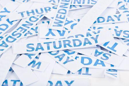 weekday: Saturday word texture background. Stock Photo