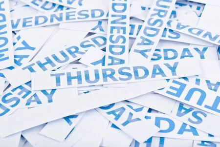 Thursday word texture background. photo
