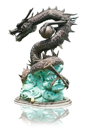 head protection: Dragon statue isolated on the white background.