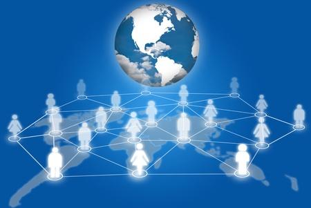 trabajo social: La gente de la red de redes sociales de comunicaci�n social con la tierra.