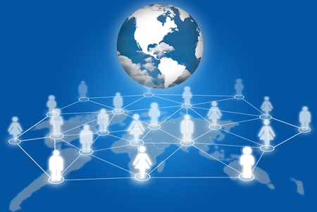 People social network communication social network with earth. photo