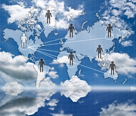 Social network communication on the blue sky field. photo