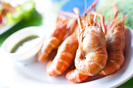 prepared shrimp: Freshwater prawn seafood. Stock Photo