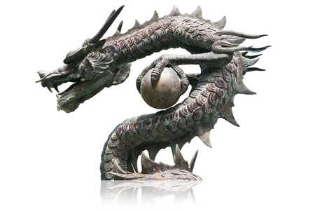 festival scales: Dragon statue with the blue sky field.