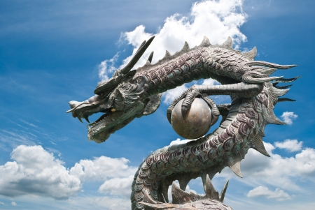 Dragon statue with the blue sky field.