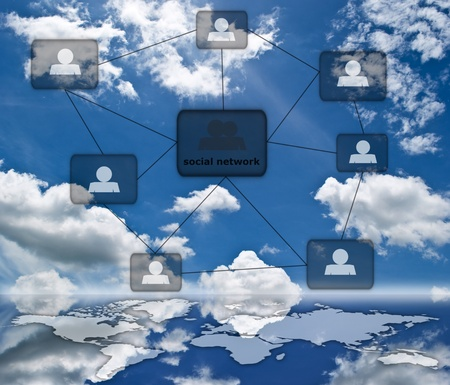 People social network communication on the blue sky field. photo