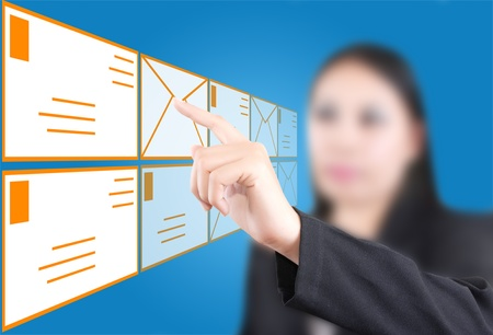 Asian business lady pushing mail for social network. Stock Photo - 10918304