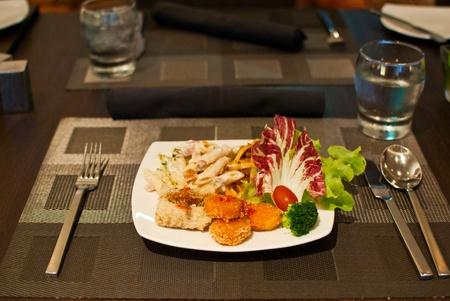 Food in dish.