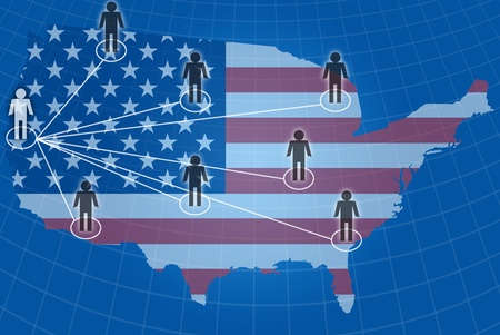 Social network communication with USA flag. photo
