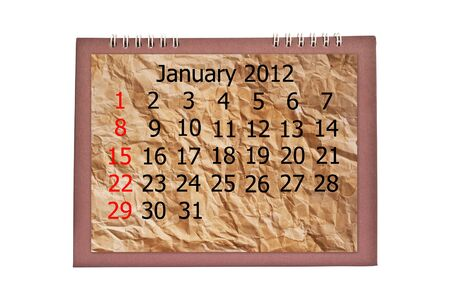 Vintage january calendar isolated on the white. photo
