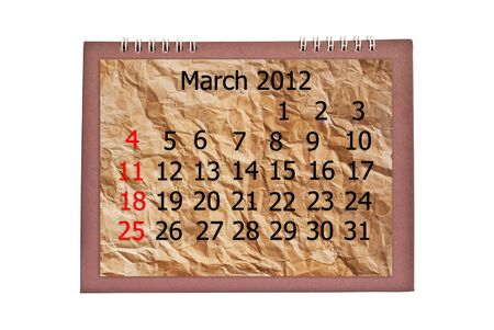 Vintage march calendar isolated on the white. photo